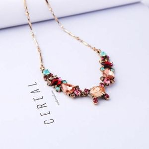 Colorful Pink Aqua Faceted Rhinestone Necklace NEW
